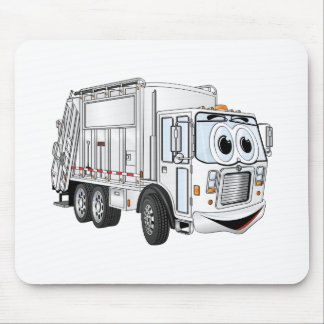 White Smiling Cartoon Garbage Truck Mouse Pad