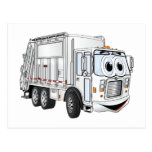 White Smiling Cartoon Garbage Truck Postcards