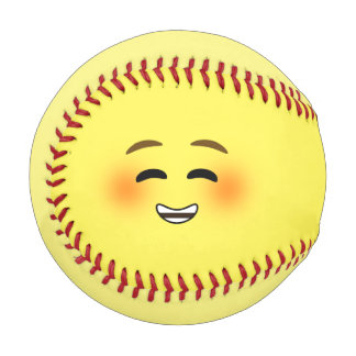 White Smiling Emoji Baseball