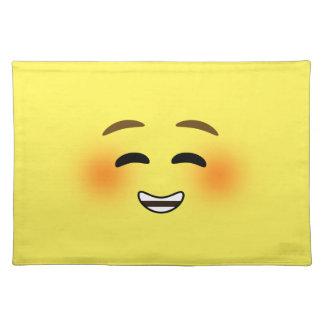 White Smiling Emoji Cloth Place Mat