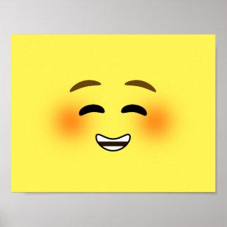 White Smiling Emoji Poster