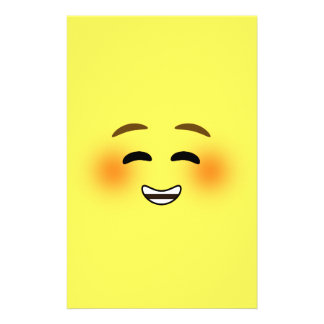 White Smiling Emoji Stationery