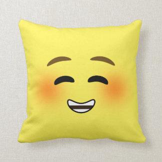 White Smiling Emoji Throw Pillow