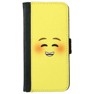 White Smiling Emoji Wallet Phone Case For iPhone 6/6s