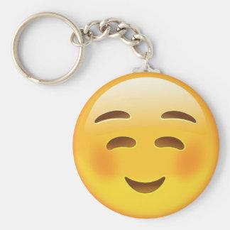 White Smiling Face Emoji Basic Round Button Keychain
