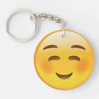 White Smiling Face Emoji Double-Sided Round Acrylic Keychain
