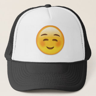 White Smiling Face Emoji Trucker Hat