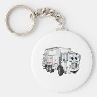 White Smiling Garbage Truck Cartoon Keychain