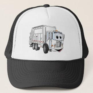 White Smiling Garbage Truck Cartoon Trucker Hat