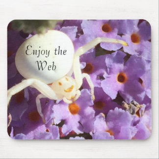 White Smiling Spider ( Enjoy the Web ) Mouse Pad