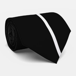 White Smoke Thin Vertical Line on Black Tie