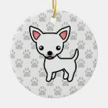 White Smooth Coat Chihuahua Cartoon Dog Ceramic Ornament