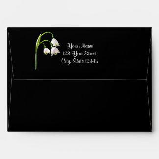 White Snow Bell Flowers on Black Wedding Envelope