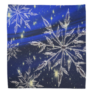 White snow blue christmas bandana