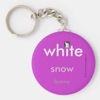 White Snow Bunny Chain Basic Round Button Keychain