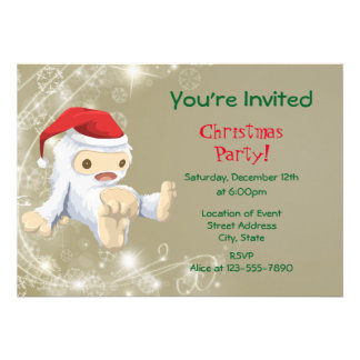 White Snow Creature Toy Christmas Party Card