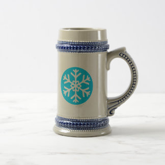 White snow flake in a blue circle beer stein