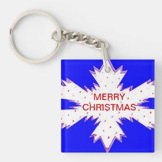 White Snow Flake with Blue Key Chain