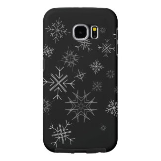 White Snow Flakes on Black Sky Samsung Galaxy S6 Cases