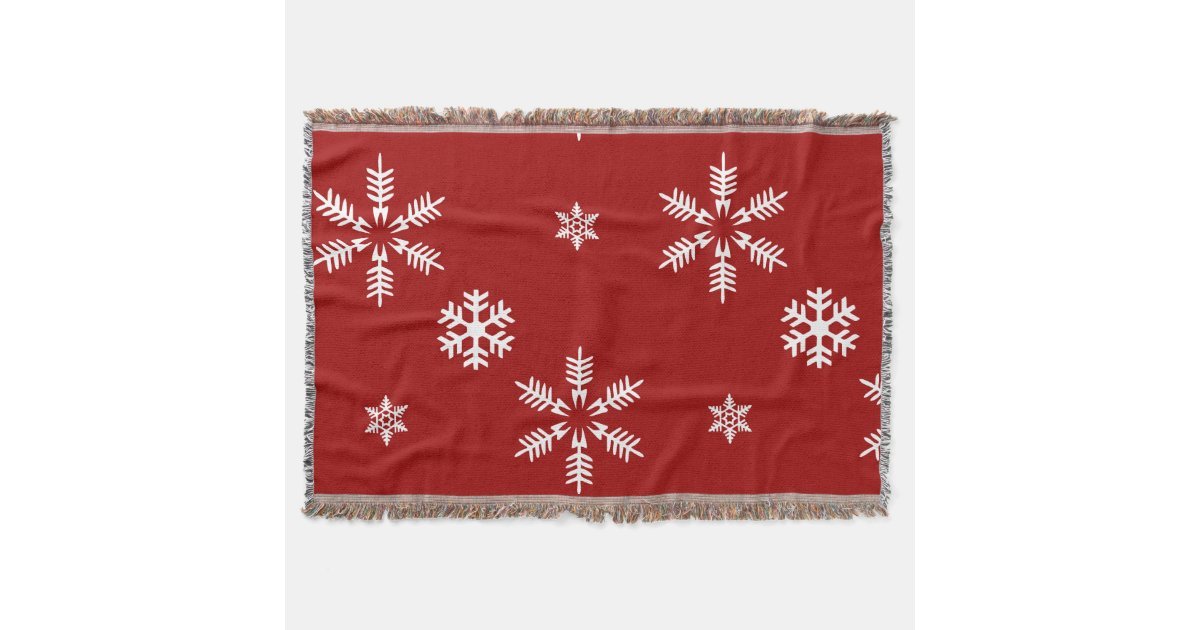 White Snow Flakes Red Background Pattern Christmas Throw Blanket Custom Red And White Christmas Throw Blanket