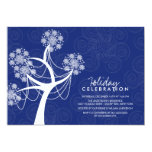 White Snow Flower Tree Lights Holiday Celebration 5x7 Paper Invitation Card