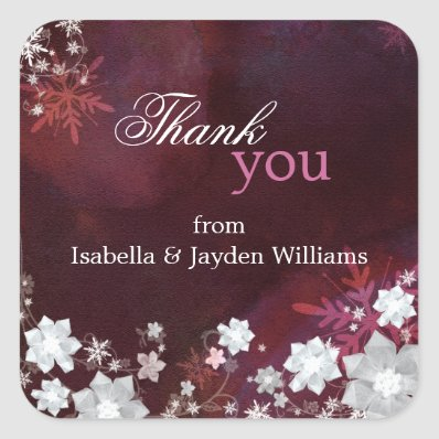 White Snow Flowers Wedding Thank You Sticker