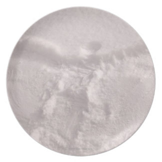White snow imprinted with a snow angel melamine plate