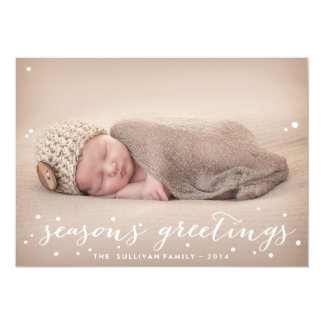 White Snow | Seasons Greetings Photo Holiday Card Announcement