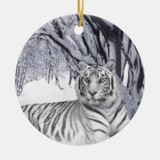 White Snow Tiger Ceramic Ornament