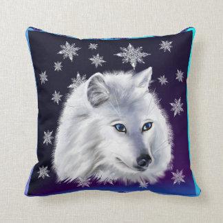 WHITE SNOW WOLF THROW PILLOW