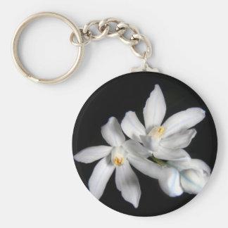 White Snowdrops Basic Round Button Keychain