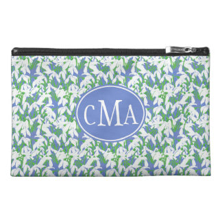 White Snowdrops Monogrammed on Soft Blue Travel Accessory Bags