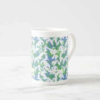White Snowdrops on Powder Blue Floral Pattern Tea Cup