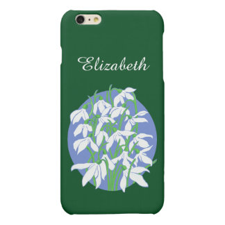 White Snowdrops on Soft Blue Oval Background Matte iPhone 6 Plus Case