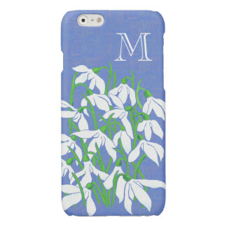 White Snowdrops on Textured Blue Monogrammed Glossy iPhone 6 Case