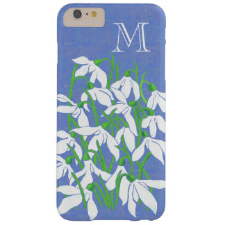 White Snowdrops on Textured Blue with Monogram Barely There iPhone 6 Plus Case