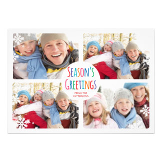 White Snowfall Merry Christmas Photo Collage Card