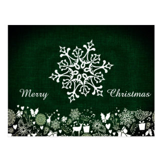 "White Snowflake And ""Merry Christmas"" On Green Postcard"