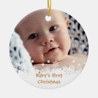 White snowflake brown gingerbread kid custom photo ceramic ornament