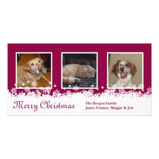 White Snowflake Christmas red holiday custom Photo Card