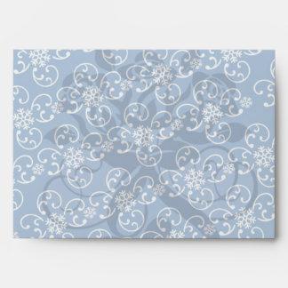 white snowflake damask on winter blue envelope