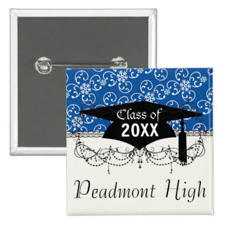 white snowflake damask on winter blue  graduation button