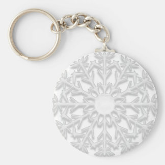 White Snowflake Keychain
