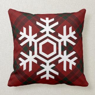 White Snowflake on a Christmas Red Tartan Pattern Pillow