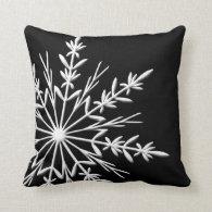White Snowflake on Black Throw Pillow