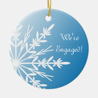 White Snowflake on Blue Engagement Ceramic Ornament