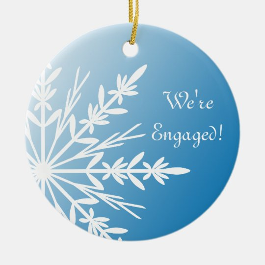 White Snowflake on Blue Engagement Ceramic Ornament