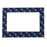 White Snowflake On Blue Magnetic Picture Frame