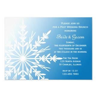 White Snowflake on Blue Winter Post Wedding Brunch Card