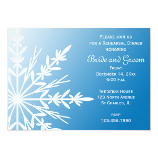 White Snowflake on Blue Winter Rehearsal Dinner Card